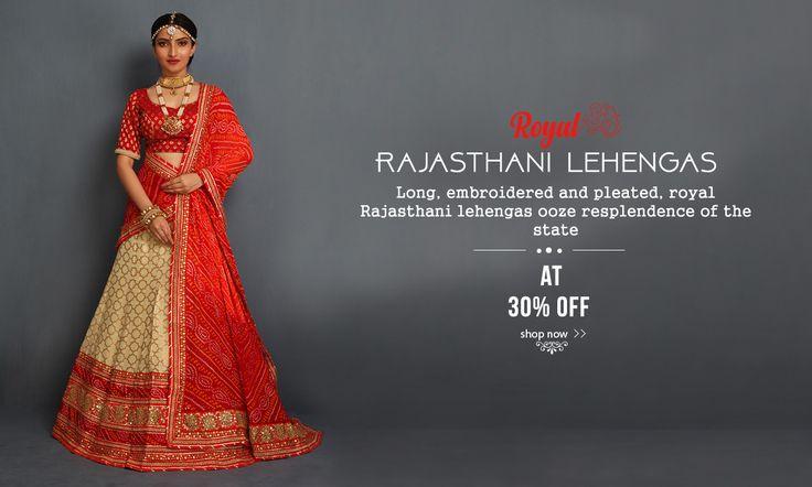 Lavish traditional Rajasthani Lehengas launched at 30% Discount!