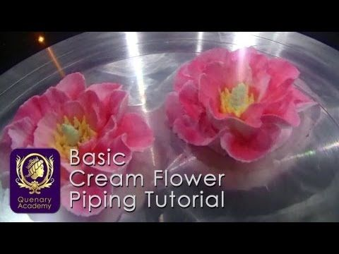 Quenary Academy Basic Cake Decoration - Piping Tutorial - How to create Cream Flower 4 - YouTube