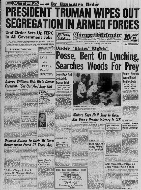 In 1948, President Harry S Truman issued Executive Order 9981 which ended segregation in the armed forces. By using an Executive Order Truman was able to bypass Congressional opposition.