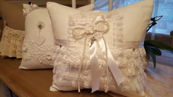 White lace decorative pillow 40cm/40cm by WhispersofAngels17