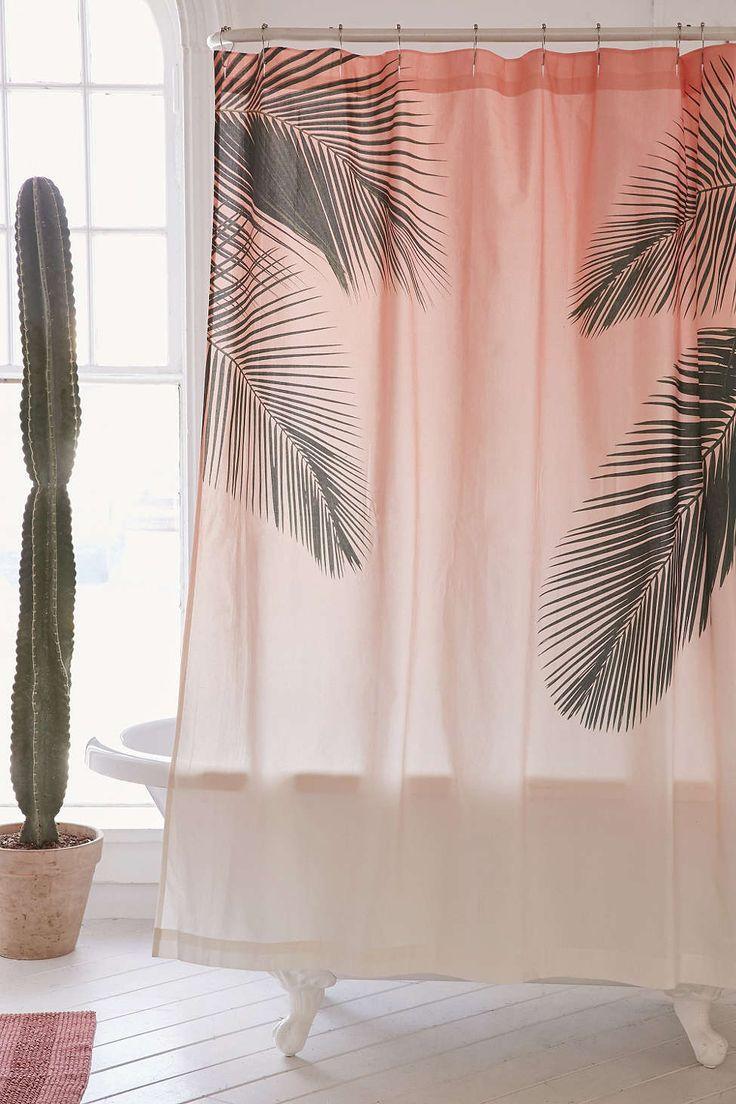 Rideau de douche à motif de palmiers