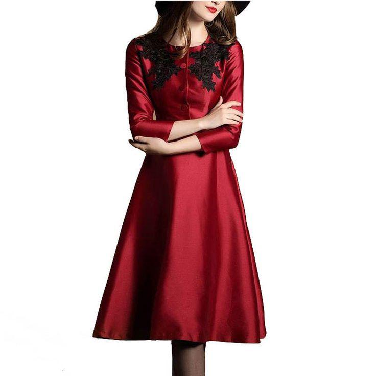 Elegant New Dress 2016 Uk High Street Ladies Fashion Slim New Autumn Winter Stunning 3/4 Sleeve New Bigh Swing Dress #Affiliate