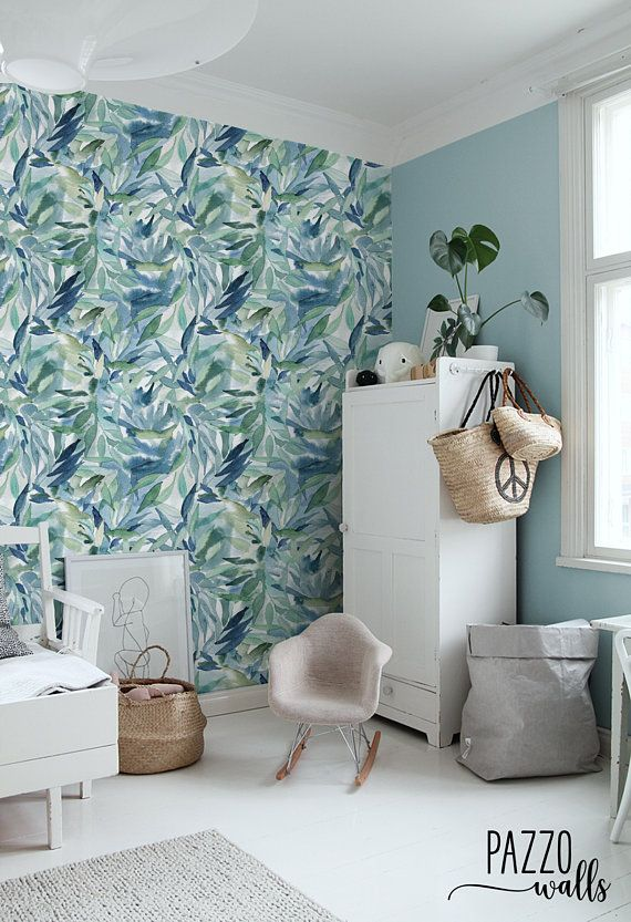 Blue Floral Wallpaper Renters Decor Traditional Or Etsy Blue Floral Wallpaper Removable Wallpaper Floral Wallpaper