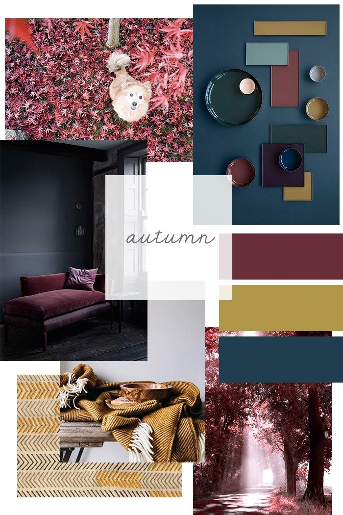 Autumn Moodboard Fall Colours Ochre Burgundy Blue ITALIANBARK Interior Design Blog