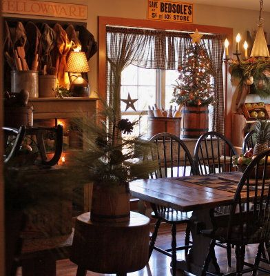 Want A Very Small Real Charlie Brown Tree To Put In Neat Barrel Just Like This Find Pin And More On Primitive Dining Rooms