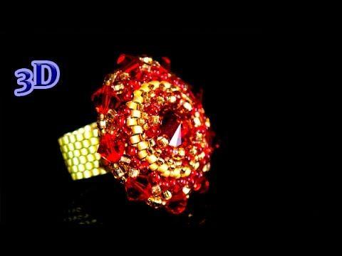 Beaded Ring with Swarovski Elements. 3D Beading Tutorial - YouTube