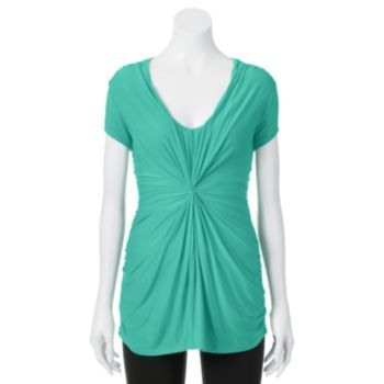 It fits and looks very cute in a light blue and mint green. :) Juniors'+Candie's+Knot+Front+Draped+Top