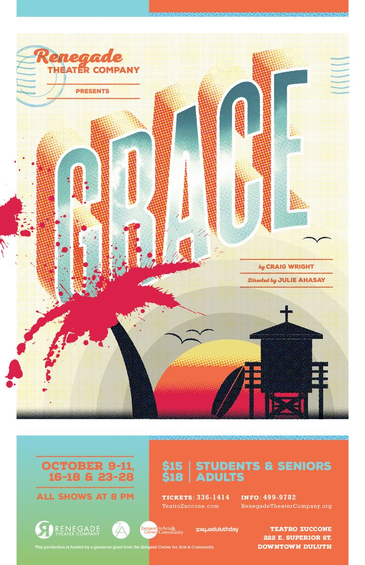 Poster design 2014 -  Grace Theater Poster Design For Renegade Theater Company In Duluth Minnesota 2014