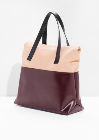 & Other Stories image 3 of Scuba Leather Tote in Beige/Red