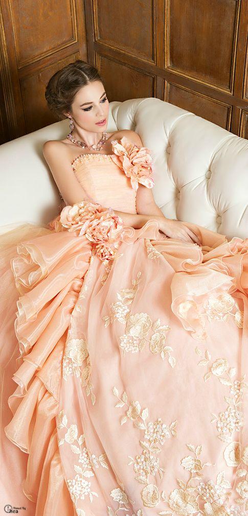 Serafini Amelia ~ Elegant Peach Bridal Dress Embellished w Floral,  Lace,  and Ruffles