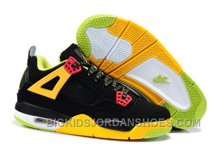 http://www.bigkidsjordanshoes.com/sale-nike-air-jordan-4-kids-black-yellow-green-cheap.html SALE NIKE AIR JORDAN 4 KIDS BLACK YELLOW GREEN CHEAP Only $85.00 , Free Shipping!