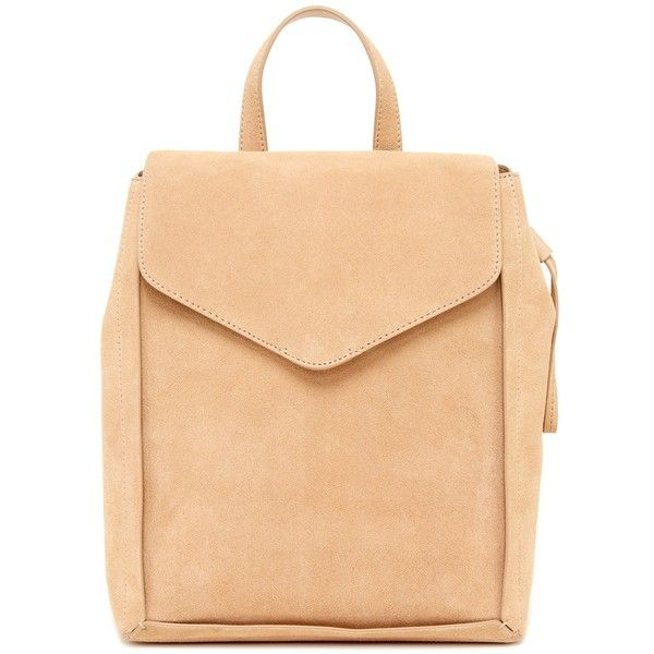 LOEFFLER RANDALL Charming Suede and Leather Backpack ($200) ❤ liked on Polyvore featuring bags, backpacks, fawn, leather backpack, beige backpack, day pack backpack, drawstring bag and draw string backpack
