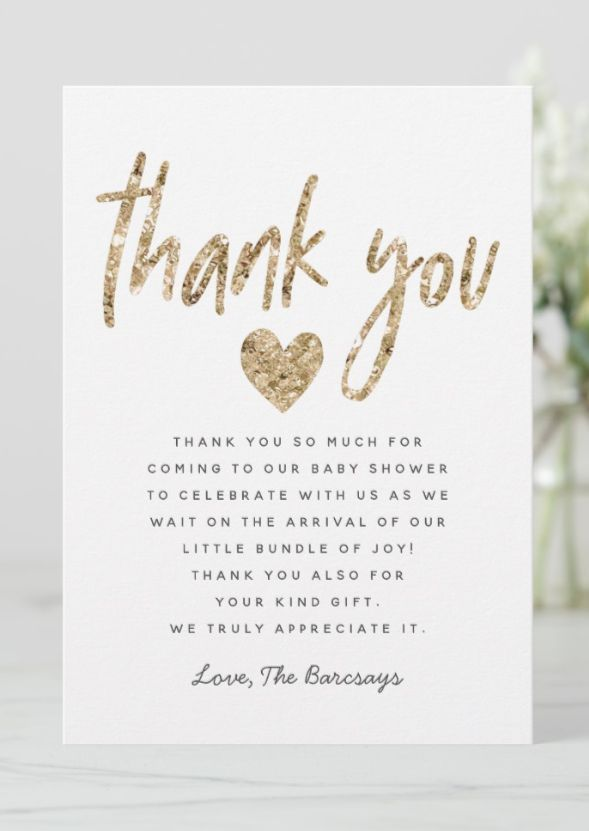 Glam Gold Glitter Heart Baby Shower Thank You Card Wording Message Template Heart Baby Shower Baby Shower Thank You Cards Baby Shower Thank You