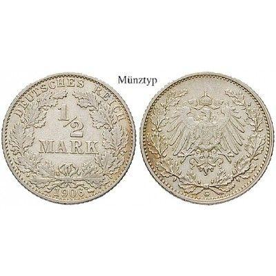 Deutsches Kaiserreich, 1/2 Mark 1913, G, vz-st, J. 16: 1/2 Mark 1913 G. J. 16; vorzüglich-stempelfrisch 22,00€ #coins