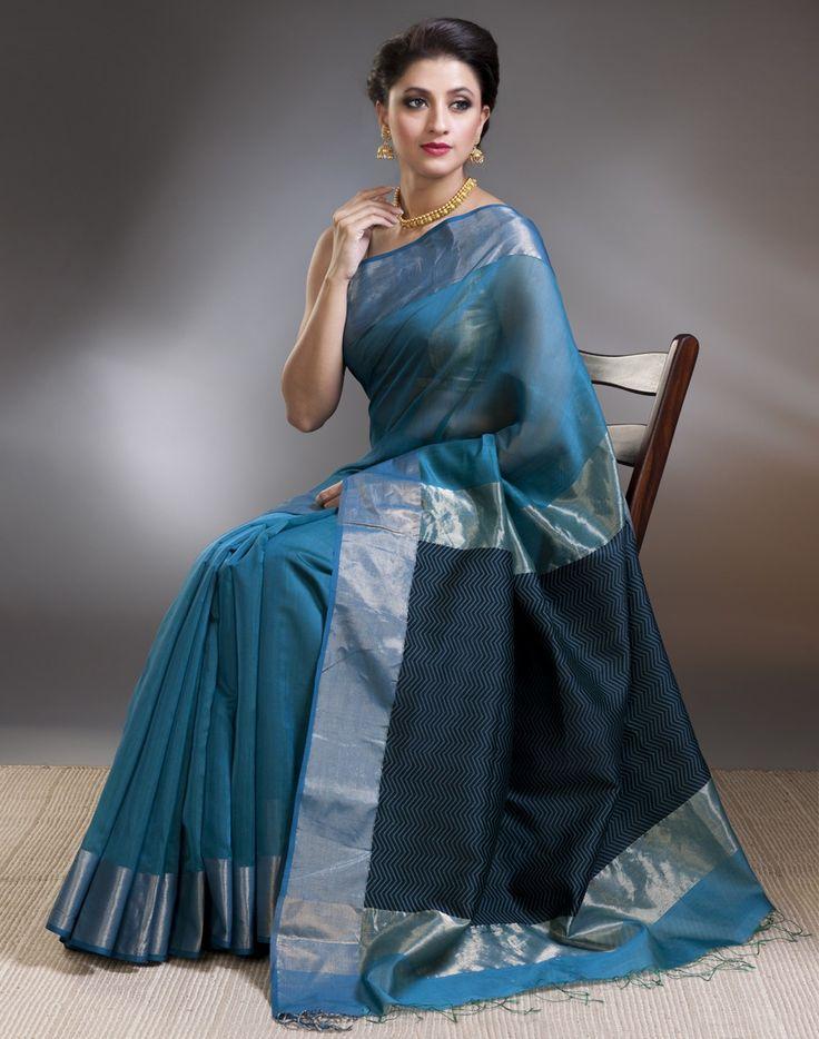 Silk Cotton Maheshwari Thread Zigzag Sari