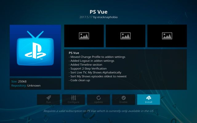 Installing The Playstation Vue Kodi Addon From The Official Kodi