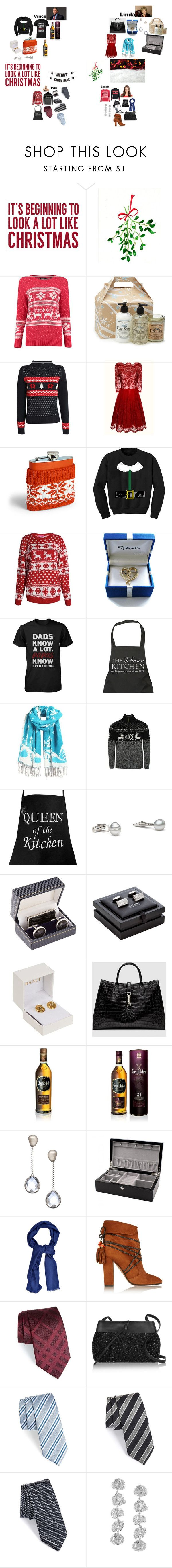 """Sarah's Christmas Presents for the McMahon/ Levesque's"" by wwetnagirl ❤ liked on Polyvore featuring Sixtrees, Bloomingville, Pilot, Chi Chi, Paladone, Royce Leather, Harrods, Versace, Gucci and Glenfiddich"