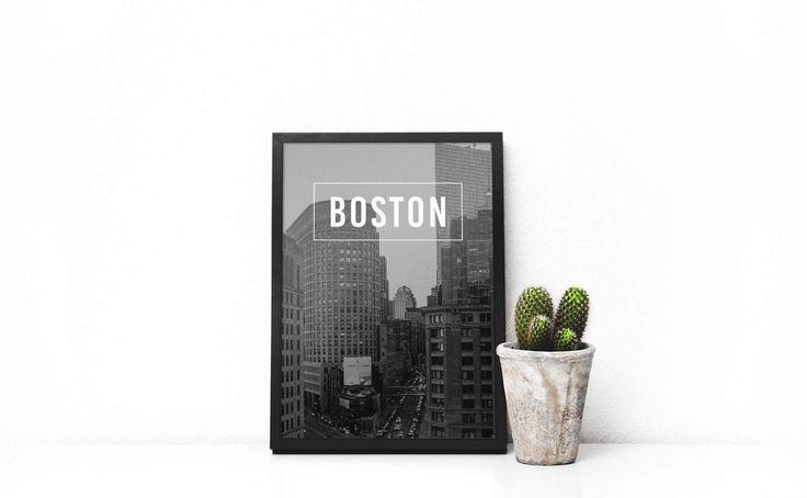 Boston City Prints, Black And White Print, City Poster, City Art, Contemporary Art, Printable Wall Art, Modern Prints, Travel Poster by SilBarragan on Etsy