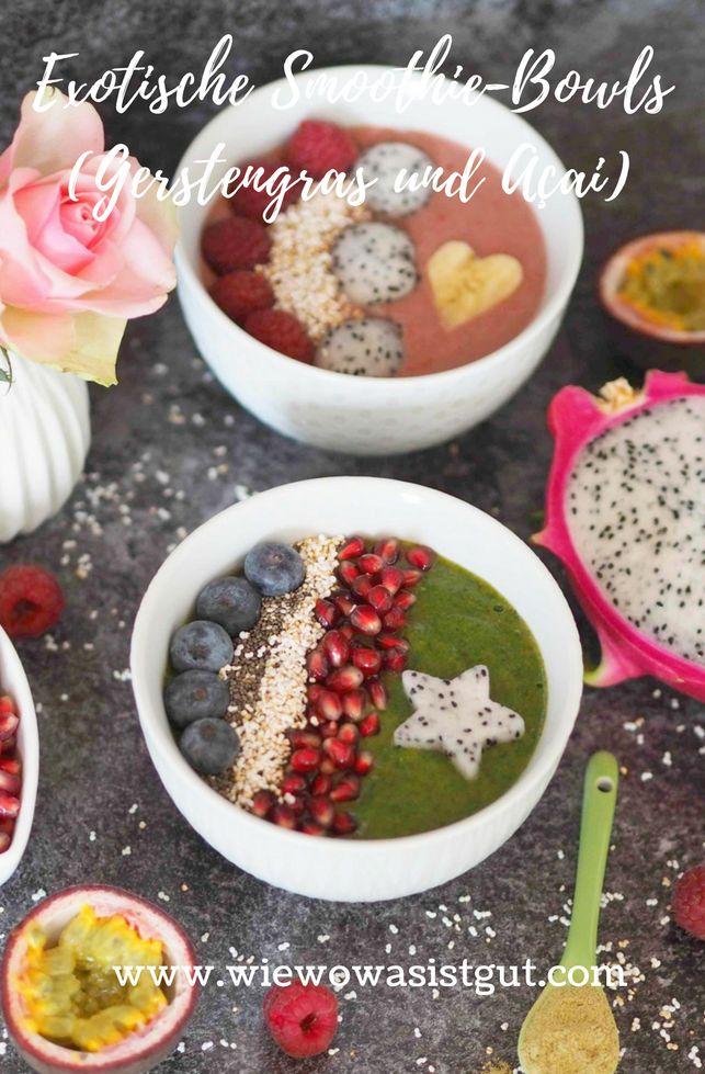 Wie wäre es mit diesen hübschen Açai & Gerstengras – Smoothie Bowls zum Frühstück (oder Mittag)? Ich mag unheimlich gerne schön angerichtete Bowls mit ein paar Superfoods und ganz viel Obst. Egal ob Sommer oder Winter, bei mir landen diese mehrmals wöchentlich auf dem Frühstückstisch. Alle Superfoods, Nahrungsergänzungsmittel oder Supplements findet Ihr bei #fitmart.  #frühstück #bowl #smoothiebowl -Werbung-