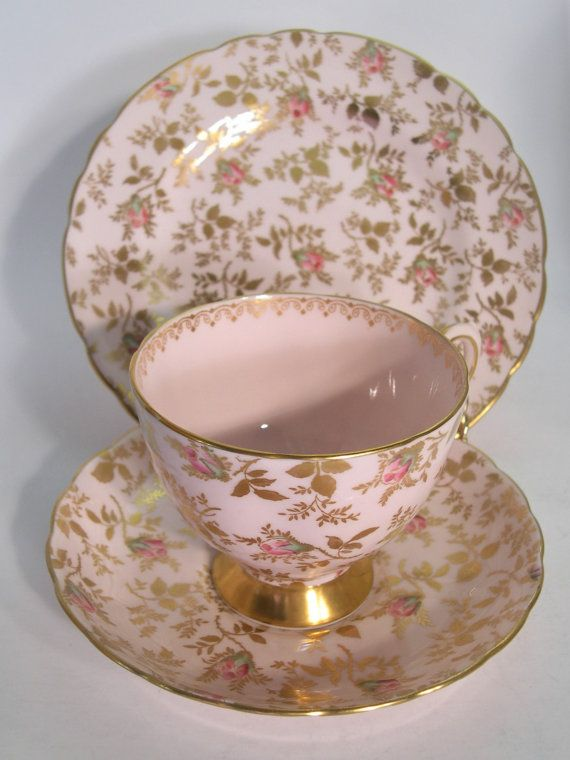 RESERVE for S. Tuscan Sunshine Rose Tea cup and saucer trio