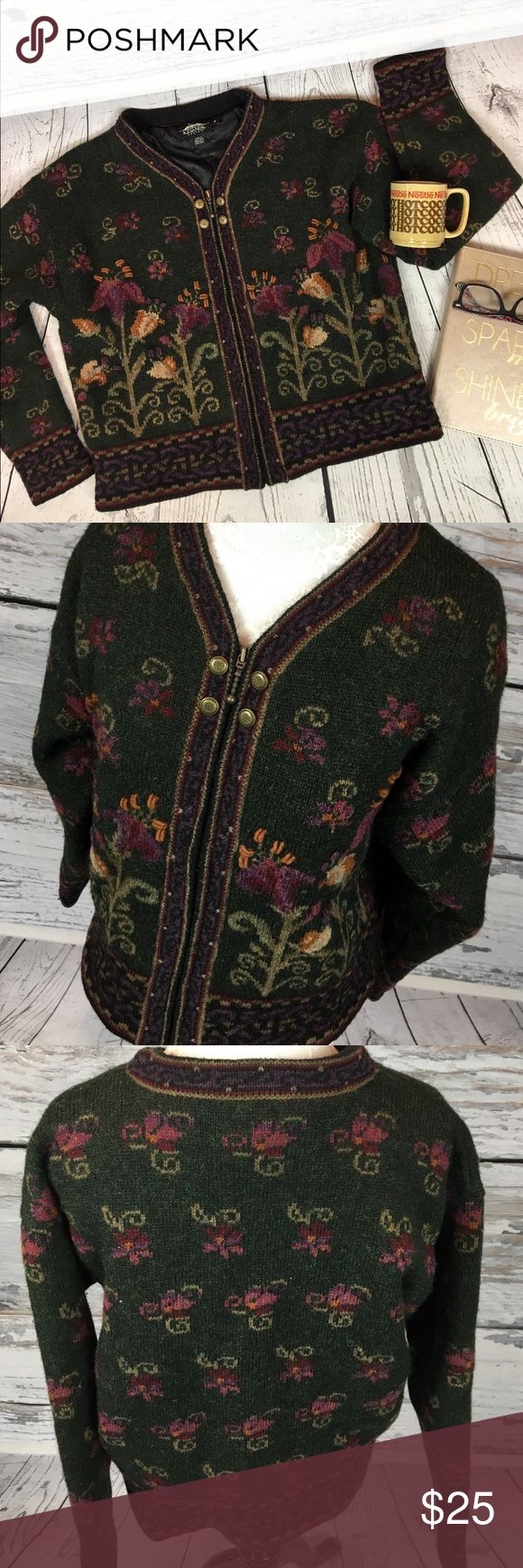 """🆕 Vintage Icelandic WOOL Sweater Jacket Women's M This make me want to cuddle up with a good book!!! GORGEOUS Vintage Lined Zip Up Sweater WOOL Jacket by Icelandic Design. Made in Hong Kong. Size Medium deep green background with Floral design. This is a beautiful gem and one of a kind!! In lovely condition only minor wool piling. from a smoke free home!! Toasty warm!!  Measurements (flat): Armpit to armpit: 21.5"""" Armpit to cuff: 20"""" Shoulder to bottom: 21.5"""" Across bottom: 20.5"""" Vintage…"""