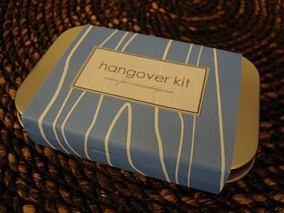 Hangover Kit - Altoids tin, advil, tums, alka-seltzer, whatever other little cures come to mind.  Very cute.  Easily adaptable to other little kits of goodies using sample sizes.