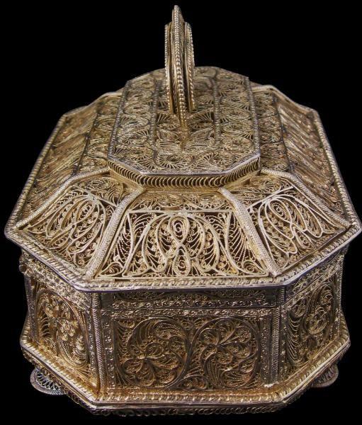 Mughal Silver Filigree Box, India