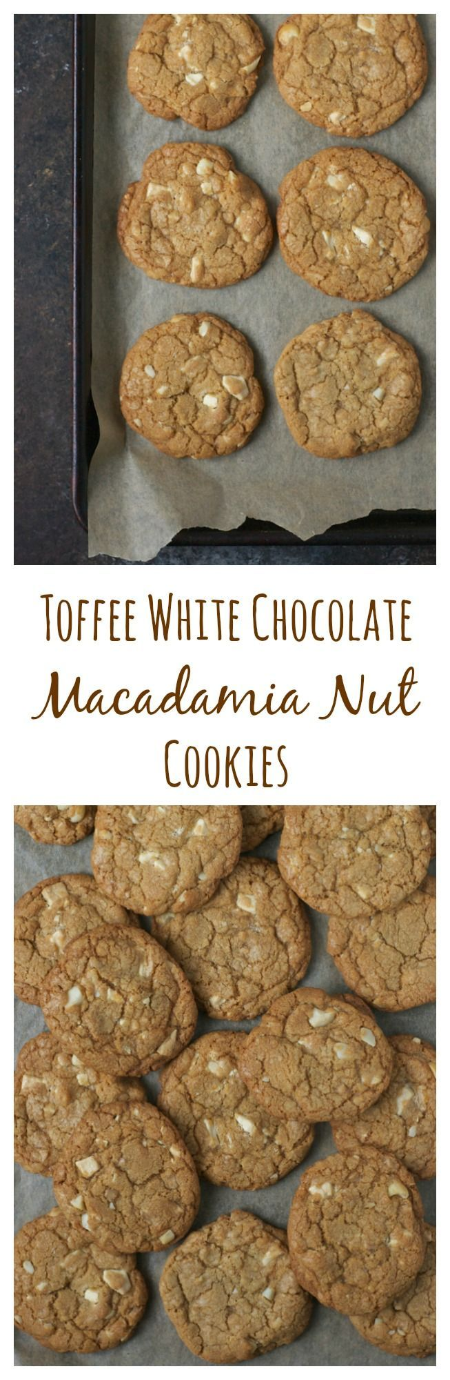 Crunchy at the edges and soft in the middle, these white chocolate macadamia nut cookies are loaded with toffee bits. A homemade version of the popular Whole Foods bakery cookie!