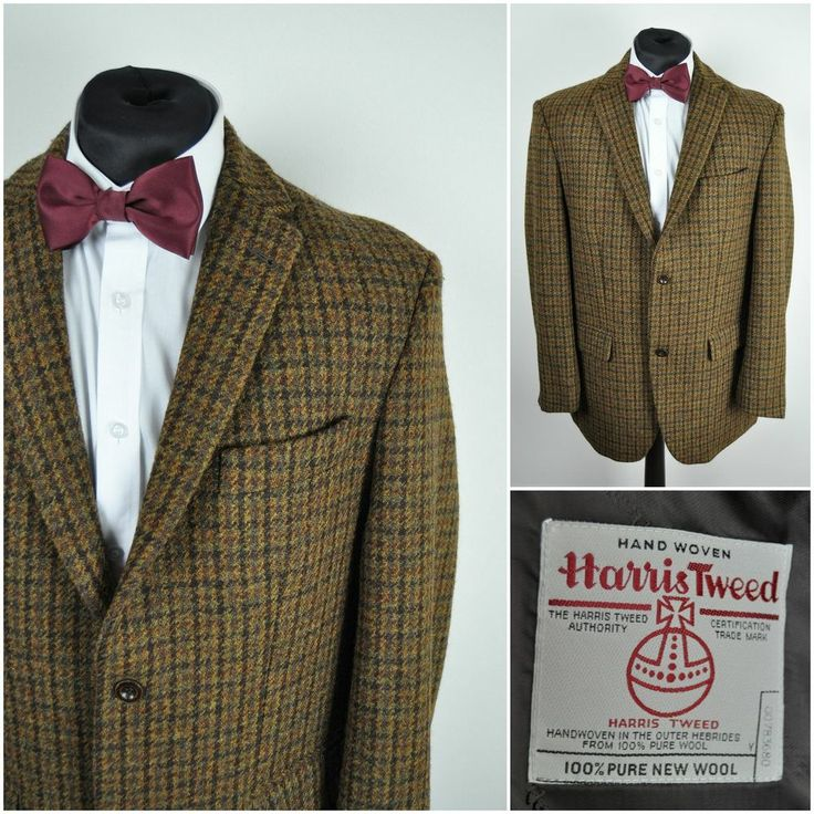 Vintage HARRIS TWEED WALBUSCH mens WOOL JACKET blazer Dogtooth