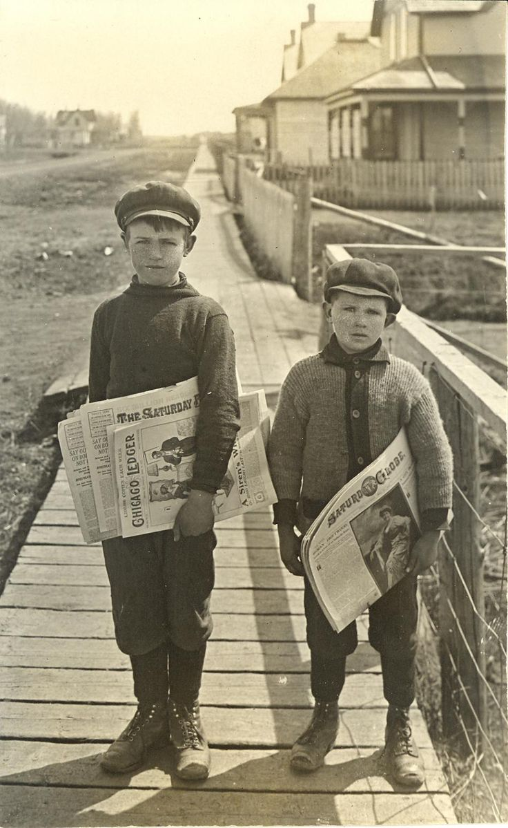 Cyril and Claude Parkinson, newspaper delivery boys at Kamsack, ca. 1916 | Saskatchewan Archives Board