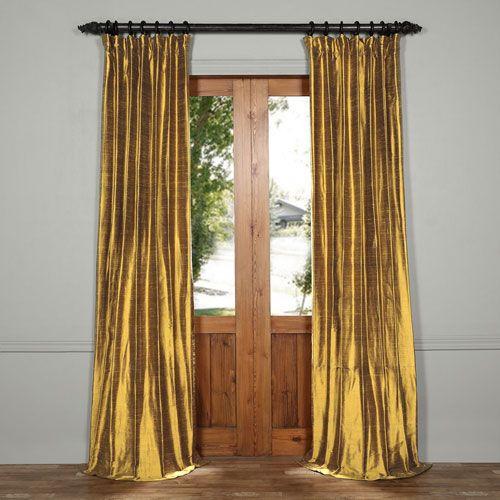 Sconce Gold 96 x 50-Inch Textured Dupioni Silk Cur…