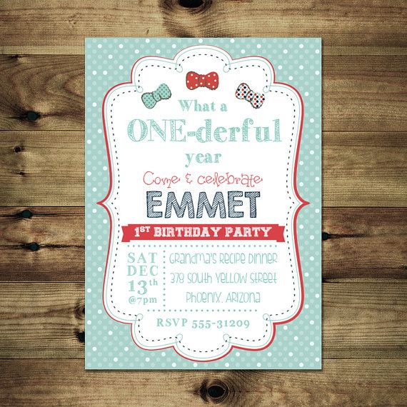 Bow Tie Birthday Invitation For Boy Bday_inv_017 by PapierMignonID