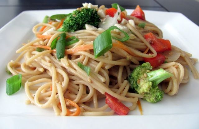 Nutty Noodles with Vegetables from The China Study Cookbook.  Super easy and delicious!