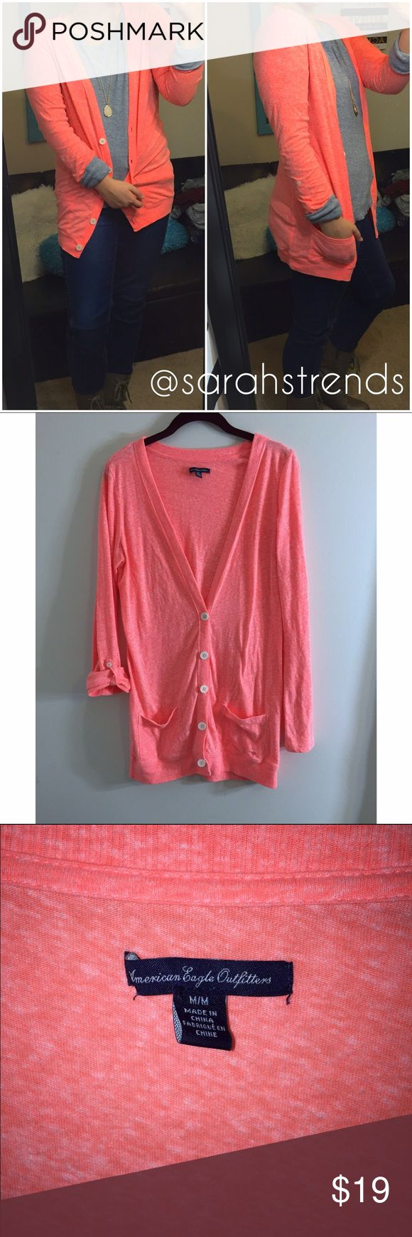 American Eagle Coral Button-Down Cardigan American Eagle Outfitters Coral Cardigan. EUC. Size medium! Nice & lightweight. True to size American Eagle Outfitters Sweaters Cardigans