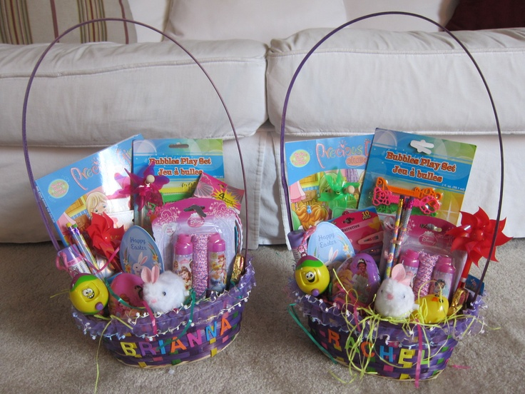 150 best easter baskets images on pinterest easter baskets gift these are easter baskets that i made for my good friend judys grandchildren rachel and negle Choice Image
