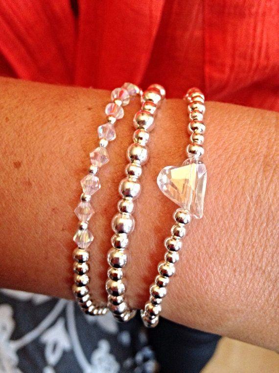 Silver Plated Crystal Glass Heart Charm Set by Alwaysbethemermaid