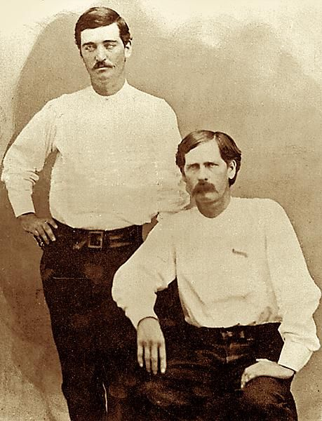 Bat Masterson & Wyatt EarpAt the height of the cattle driving days, in 1876, two of the Old West's most famous lawmen posed together in Dodge City, Kansas.– Courtesy Jeff Morey –