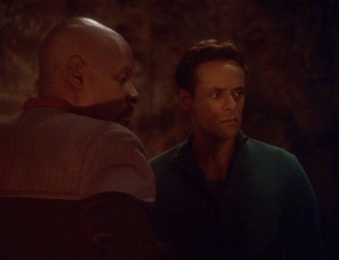 Avery Brooks and Alexander Siddig as Captain Sisko and Dr. Julian Bashir in Star Trek Deep Space Nine.