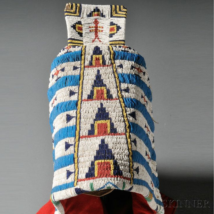 Cheyenne Beaded Hide Triangular Soft Cradle with Red Trade Cloth Bottom   Sale Number 2636B, Lot Number 73   Skinner Auctioneers