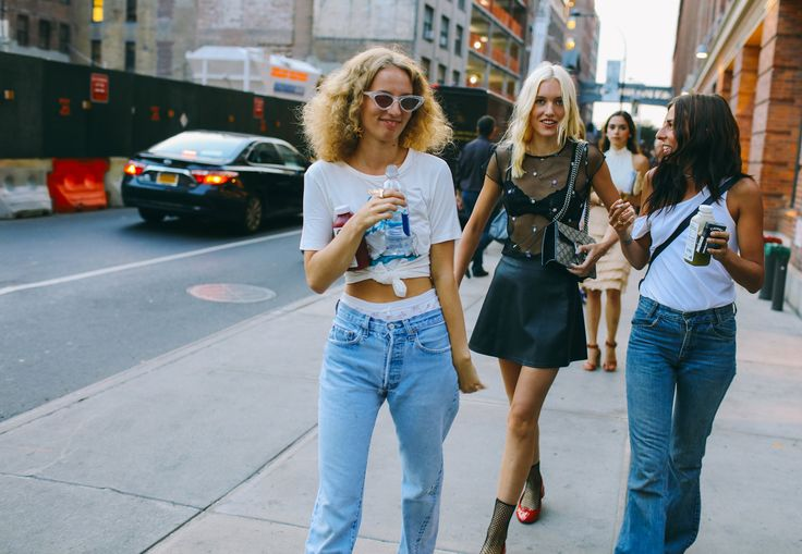 Petra Collins in an Adam Selman shirt and Adam Selman x Le Spec sunglasses, and Carlotta Kohl with a Gucci bag  Phil Oh's Best Street Style Pics From New York Fashion Week sep 16