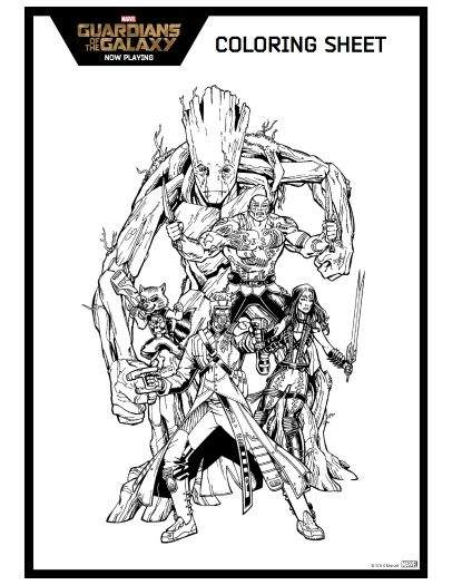guardians of the galaxy 2 coloring pages Guardians of the Galaxy Printable Coloring Page | Printable  guardians of the galaxy 2 coloring pages