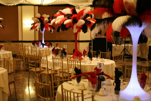 black and white centerpieces for party   with the party had a mafia casino theme the black red and white casino ...