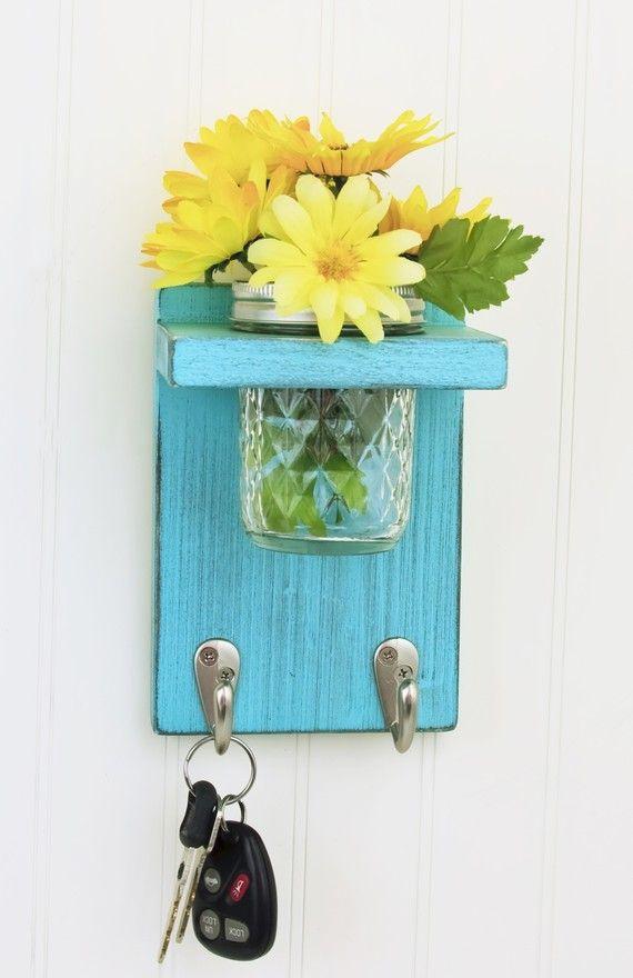 Reserve Listing for KatyB91 - Country Key Holder with 2 Hooks and Mason Jar Vase…