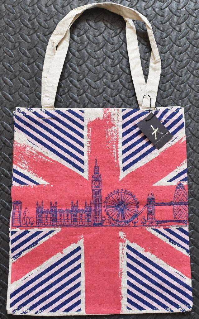 Primark Bag Union Jack UK Flag London Skyline CANVAS TOTE SHOPPER SHOULDER BNWT £6.99 + p&p www.clickbuylove.com