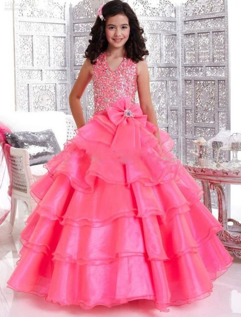 Halter Beautiful Hot pink Tiered Organza Flower Girl Dress for Birthday 2015 Bow neck back Kids Pageant Gowns Robe Soiree Enfant