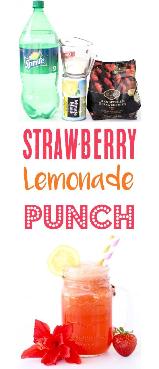 Strawberry Lemonade Punch Recipes!  This Easy Party Punch has just 4 ingredients and is ALWAYS the hit of every party! | TheFrugalGirls.com