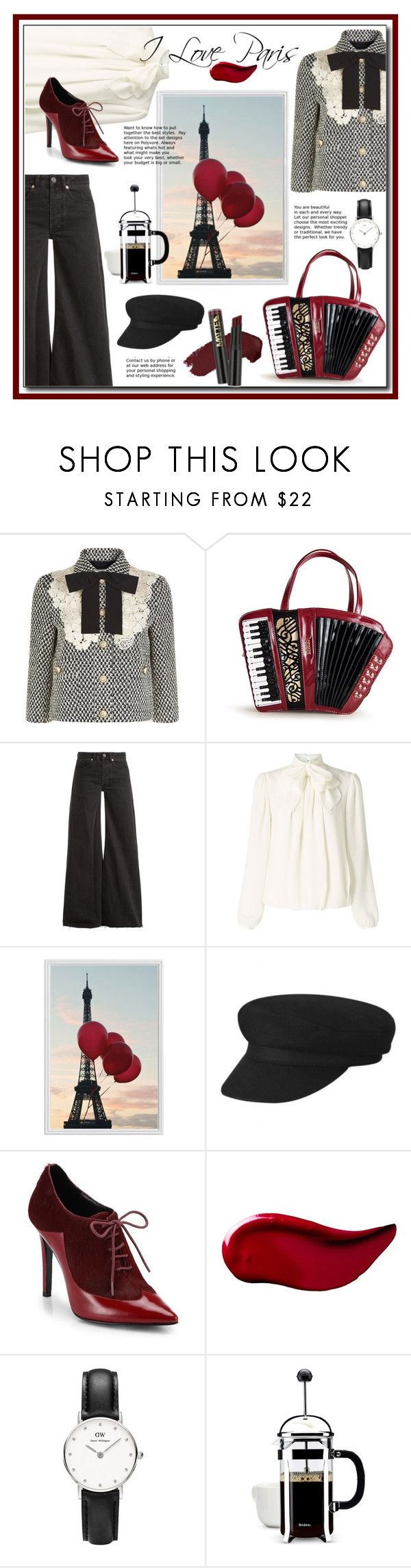 """I Love Paris"" by annoula-g ❤ liked on Polyvore featuring Gucci, Raey, Somerset by Alice Temperley, Pottery Barn, Sigerson Morrison, Kat Von D, Daniel Wellington, BonJour and L.A. Girl"