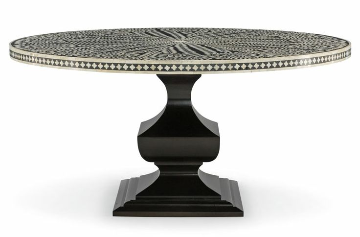 """Dining table - Bernhardt's Barnsley dining table is a striking homage to traditional Indian artistry. Handcrafted of camel bone inlaid in black resin, the 60""""-dia. top rests on a base of ebonized rubberwood   Bernhardt"""