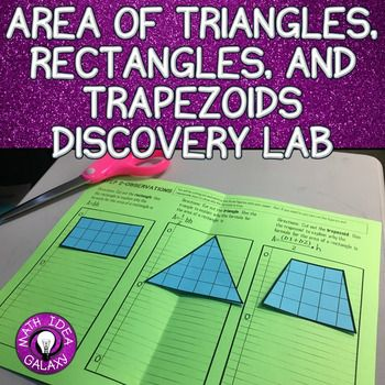 This discovery activity will give students the opportunity to discover the area of a rectangle, a triangle, and a trapezoid.  This is a cooperative activity to do before the giving notes about surface area.This resource includes:-Background Building Activity-A Discovery Activity-Reflection