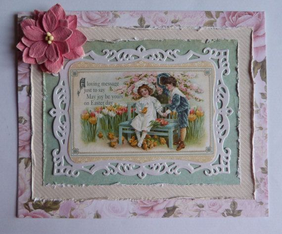 #handmadecard, #Eastercard, #uniquecard, #shabbychiccard, #vintagecard, #sentimentallcard This beautiful handmade Easter card will make a perfect gift for Your loved ones. Theres a lovely poem on top with Easter blessings. Gorgeous